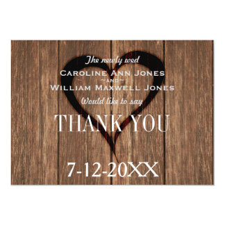 Rustic Wood and Engraved Heart Thank You Card
