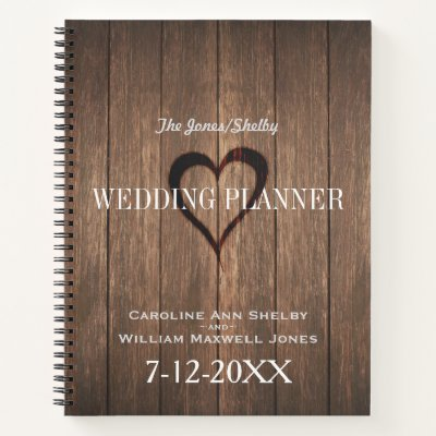 Rustic Wood and Engraved Heart Wedding Planner Notebook