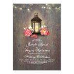 Rustic Wood and Floral Lantern Lights Barn Wedding Card