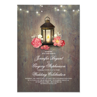 Rustic Wood and Floral Lantern Lights Barn Wedding Card