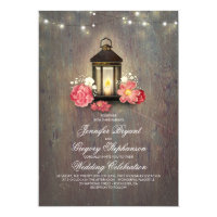 Rustic Wood and Floral Lantern Lights Fall Wedding Invitation