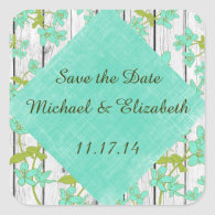 Rustic Wood and Floral Save the Date Stickers