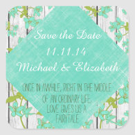 Rustic Wood and Floral with Quote Save the Date Square Stickers