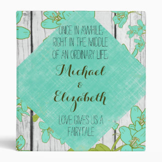 Rustic Wood and Floral with Quote Wedding Album Vinyl Binders