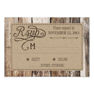 Rustic Wood and Heart Etching RSVP Card