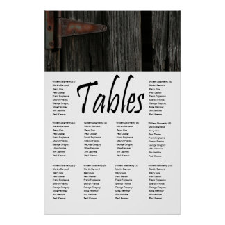 Rustic Wood and Hinge 10 Table Seating Chart Poster