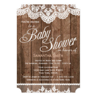 Rustic Wood And Lace Baby Shower Invitation