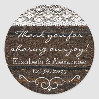 Rustic Wood and Lace- Classic Round Sticker