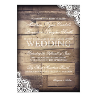 Rustic Wood and Lace Country Wedding Invitations