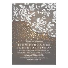 Rustic Wood and Lace Gold Confetti Elegant Wedding Card