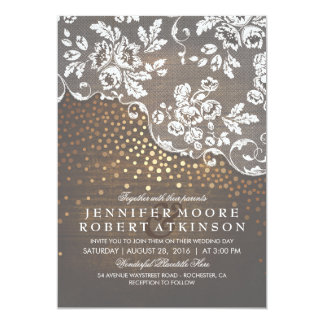 Rustic Wood and Lace Gold Confetti Lights Wedding Card