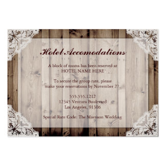 Rustic Wood and Lace Hotel Accommodations Large Business Cards (Pack Of 100)
