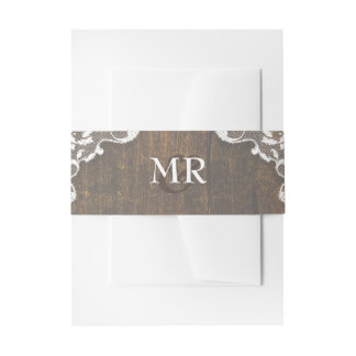 Rustic Wood and Lace Monogram Wedding Belly Bands Invitation Belly Band