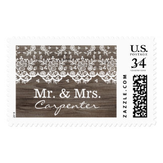 Rustic Wood and Lace Mr. and Mrs. Postage Stamp