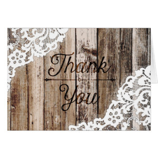 Rustic Wood and Lace Thank You Card
