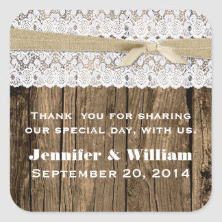 Rustic Wood and Lace Wedding Favor Sticker
