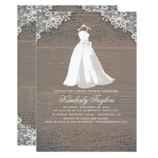 Rustic Wood and Lace | Wedding Gown Bridal Shower Card