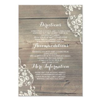 Rustic Wood and Lace Wedding Information Details