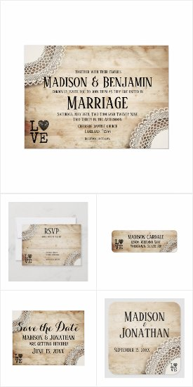 Rustic Wood and Lace Wedding Invitation Set