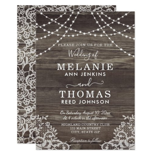 Rustic Wood and Lace Wedding Invitations, Country Card