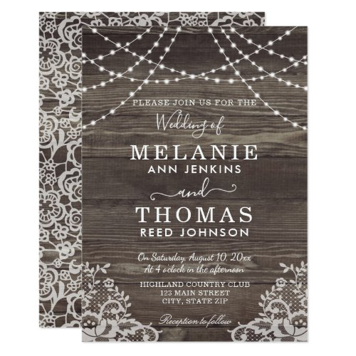Rustic Wood and Lace Wedding Invitations, Country Invitation