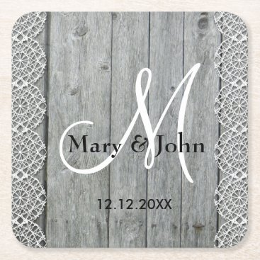 Bride Themed Rustic Wood And Lace Wedding Monogram Square Paper Coaster
