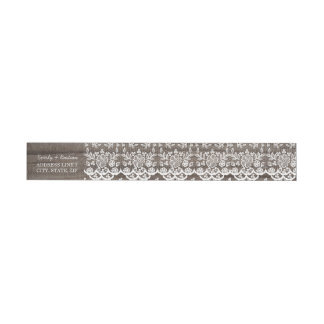 Rustic Wood and Lace Wrap Around Address Label