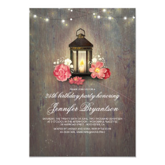 Rustic Wood and Lantern Barn Birthday Party Card