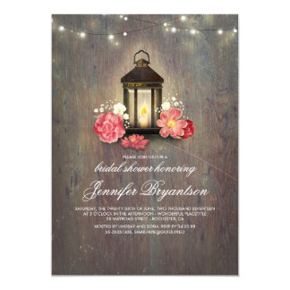 Rustic Wood and Lantern Barn Bridal Shower Card