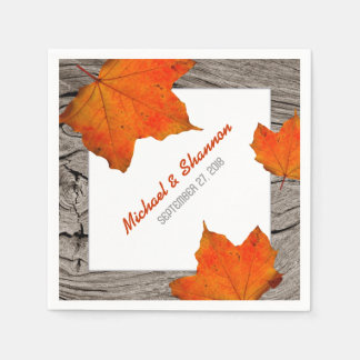 Rustic Wood and Leaves Fall Wedding Paper Napkins