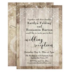 Rustic Wood And Light Strings Wedding Reception Invitation