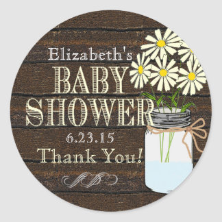 Rustic Wood and Mason Jar- Baby Shower Classic Round Sticker