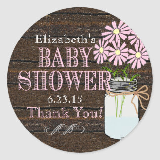 Rustic Wood and Mason Jar- Baby Shower Round Sticker