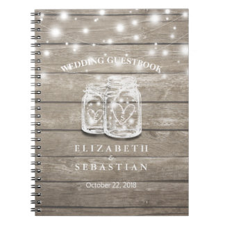 Rustic Wood and Mason Jar Lights Wedding Guestbook Spiral Notebook