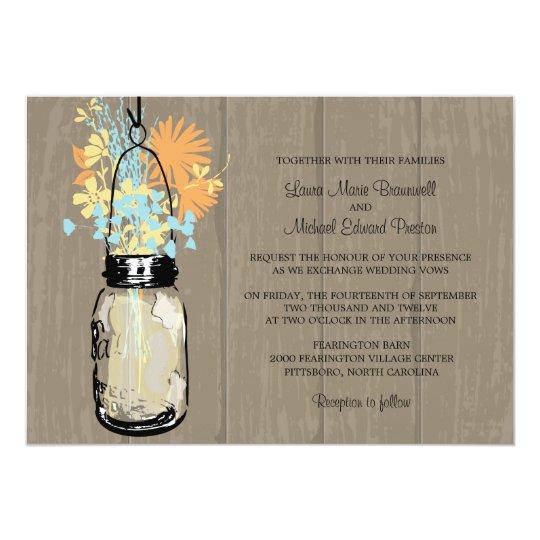 Rustic Wood and Mason Jar Wildflowers Card