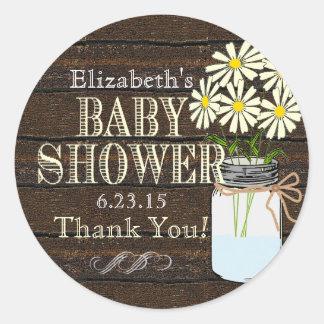 Rustic Wood and Mason Jar Yellow Baby Shower Classic Round Sticker