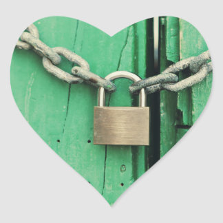Rustic Wood and Padlock Heart Sticker