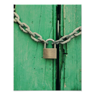 Rustic Wood and Padlock Poster