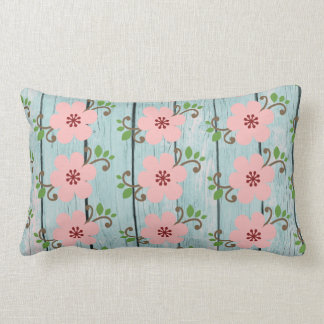 Rustic Wood and Pink Flowers Throw Pillow