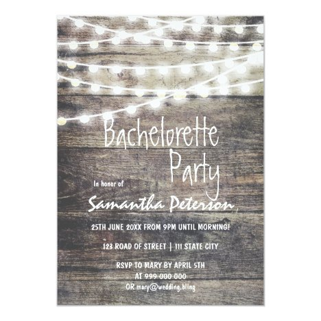 Rustic wood and string lights bachelorette party card