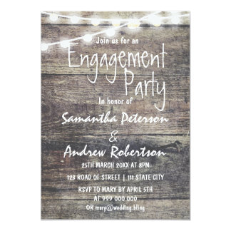 Rustic wood and string lights engagement dinner card