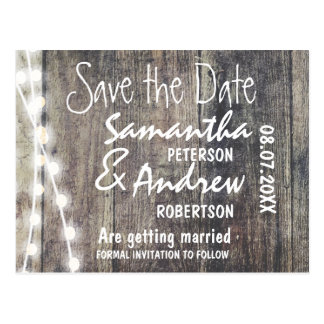 Rustic wood and string lights save the date postcard