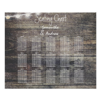Rustic wood and string lights table seating chart poster