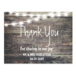 Rustic wood and string lights thank you postcard