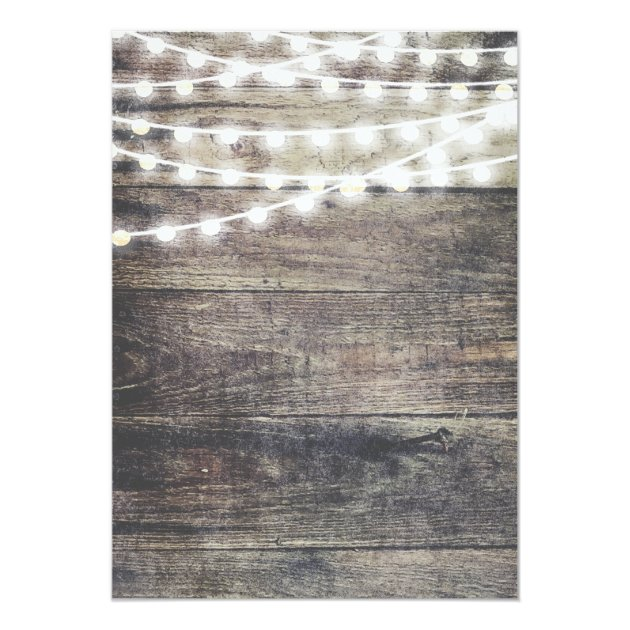 Rustic wood and string lights wedding card zazzle
