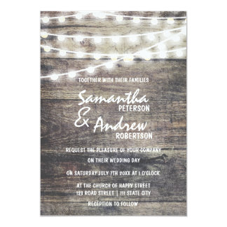 Rustic wood and string lights Wedding Card