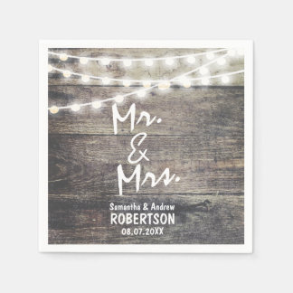 Rustic wood and string lights wedding paper napkin