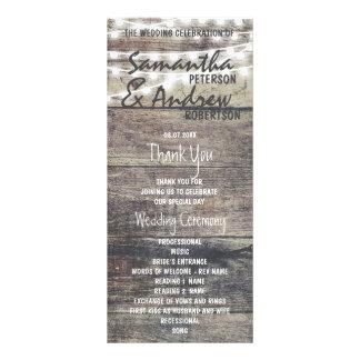 Rustic wood and string lights Wedding Program
