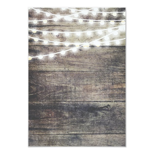 Rustic Wood And String Lights Wedding Reception Card Zazzle