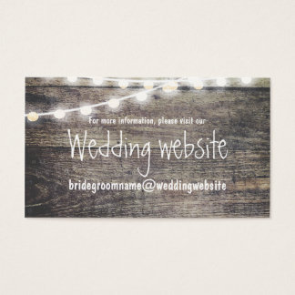 Rustic wood and string lights wedding website business card